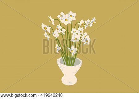 A Bouquet Of White Daffodils In White Vase Based On Kenzan Technics. Vector Illustration In Flat Sty