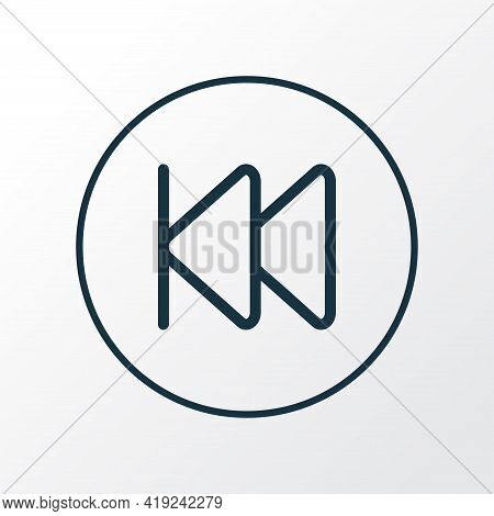 Previous Icon Line Symbol. Premium Quality Isolated Rewind Element In Trendy Style.