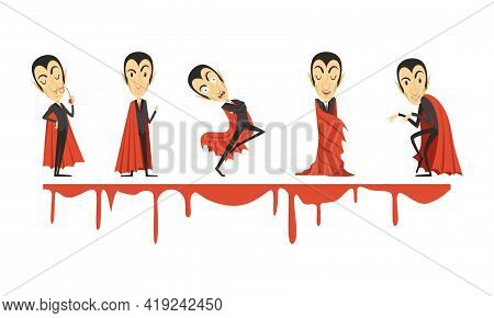 Count Dracula Wearing Red Cape As Vampire Character From Fiction Book Vector Set