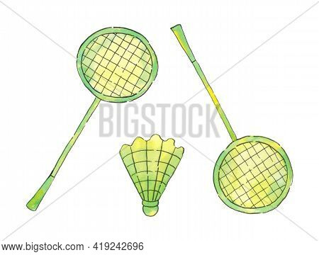 Badminton. Rackets And Badminton Shuttlecocks. A Set Of Isolated Sports Items. Active Game. The Illu