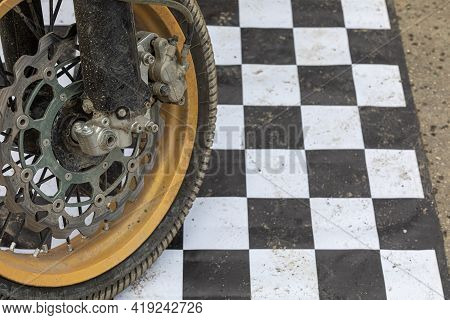 The Wheel Of The Motorcycle Is Sporty For Cross And Motorcycle Freestyle, Racing Professional Motors