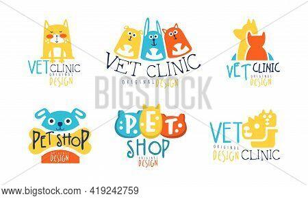 Pet Shop And Vet Clinic Graphic Emblem Original Design Vector Set