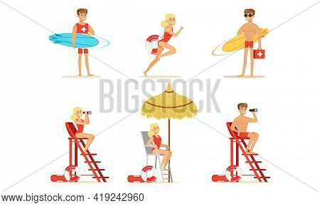 Man And Woman Lifeguard Supervising Safety Of Swimmers Vector Set