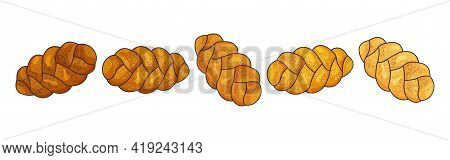 Challah Vector Icon. Holiday Jewish Braided Loaf Set, Shabbat Bread Isolated On White Background. Fo