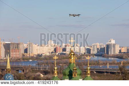 Drone Flies Over Church