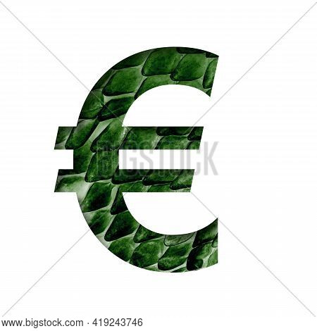 Dragon Skin Font. Euro Money Symbol Cut Out Of Paper On The Background Of The Dark Green Skin Of A M