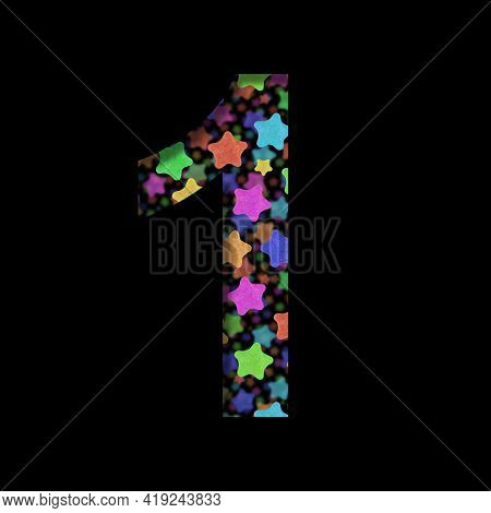New Years Font. Digit One, 1 Cut Out Of Black Paper On The Background Of Bright Colored Stars Of Dif
