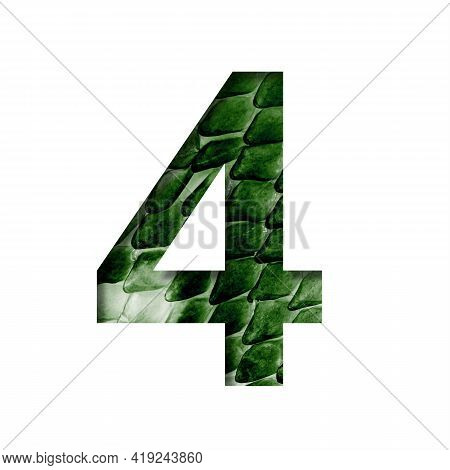 Dragon Scale Font. Digit Four, 4 Cut Out Of Paper On The Background Of The Dark Green Skin Of A Myst