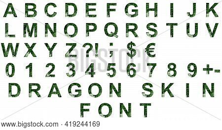Set Of Dragon Skin Font. Alphabet Letters Abcdefghijklmnopqrstuvwxyz And Digits 1234567890 Set Cut O