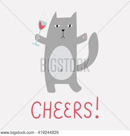 Fat Naughty Car Drinks Wine. Cute Funny Character With Glass Of Sparkling Wine.