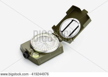 Tactical Military Compass Isolated On White Background. Guidance Concept