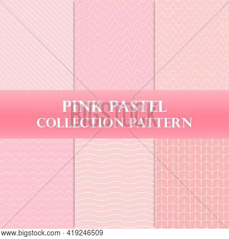Pink Background With Pink Stripes, Pink Pastel Pattern Design Collection, Pattern Curve Vector