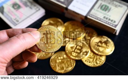 Bitcoin With Dollar Cash Stacks, Digital Virtual Crypto Currency Bitcoin (btc) And Paper Money. One