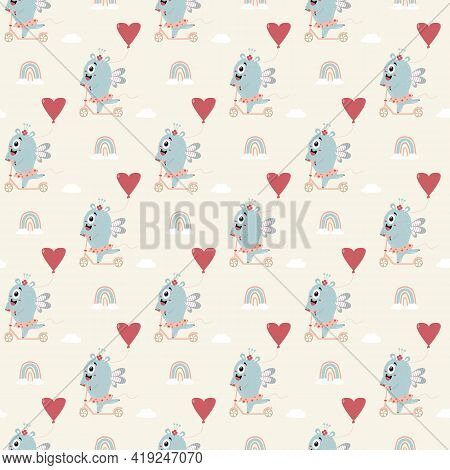 Seamless Pattern With Blue Monster. Cute Character - A Monster Girl In Skirt Rides A Scooter With Ba