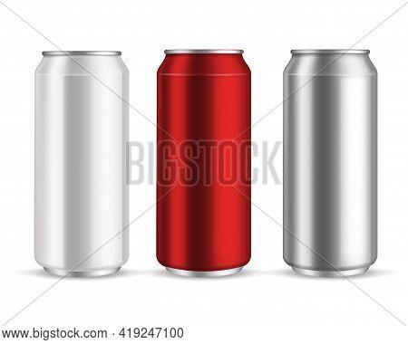 Cans Aluminum. Realistic Metal Blank Can Beer Or Soda Drinks, Beverage Lemonade Or Energy Drink, Sil