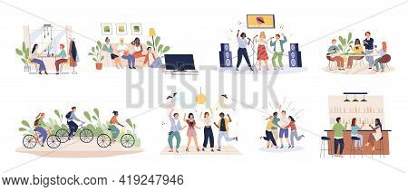 Friends Time Together. Happy People Have Fun, Relax And Enjoy, Young Buddies Companies Hang Out In K