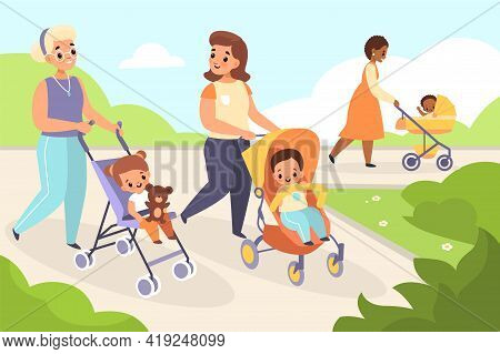 Mom Baby Walking. Happy Women With Kids Strollers In Summer Park Landscape, Outdoor Moms Holiday, Mo