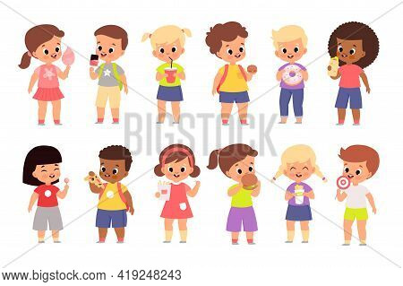Kids With Fast Food. Cute Children Hold Burgers, Pizza And Donuts, Harmful Snack, Diet And Nutrition