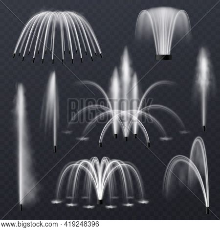 Fountain Water. Realistic Jets And Splashes Combination Collection, Park Or Garden Decorative Elemen