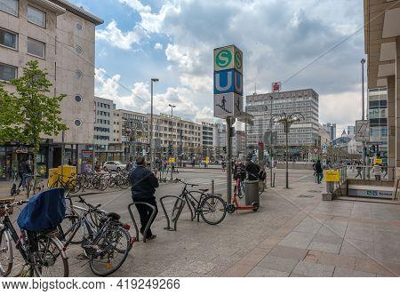 The Large Konstablerwache Square In Downtown Frankfurt, Germany
