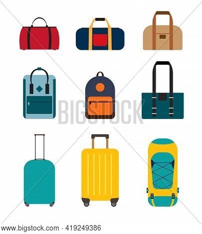 Icon Collection Set Of Travel Bags, Backpacks, Suitcases Isolated On White Background