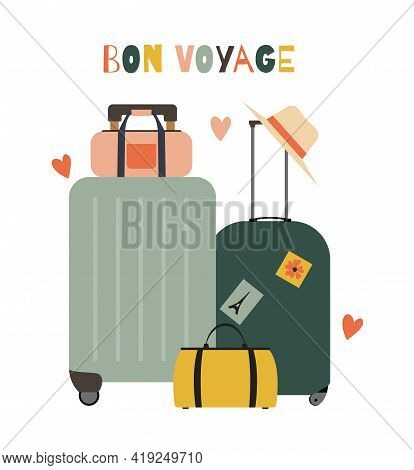 Travel Bags, Suitcases Icon Isolated On White Background