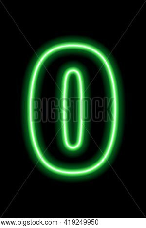 Neon Green Number 0 On Black Background. Learning Numbers, Serial Number, Price, Place. Vector Illus