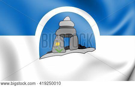 3d Flag Of Franco-nunavois, Canada. 3d Illustration.