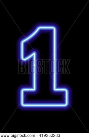 Neon Blue Number 1 On Black Background. Learning Numbers, Serial Number, Price, Place. Vector Illust