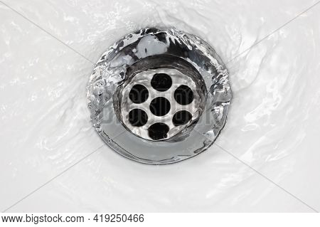 Sink Plug Drain Hole Bath Plughole, White Basin Spout, Running Water Macro Closeup, Stainless Steel,