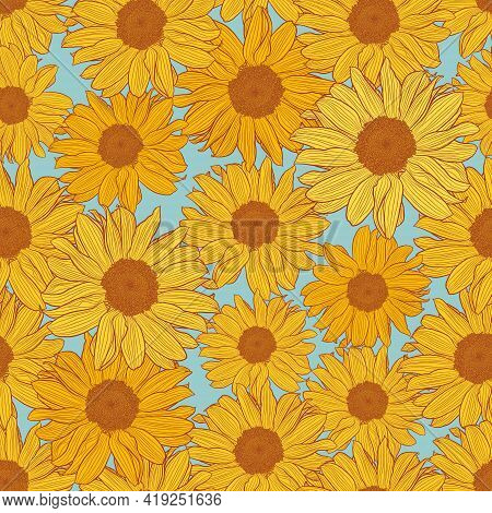 Seamless Pattern Of Yellow Sunflowers With Bronze Outline On Powder Blue. Decorative Print For Wallp