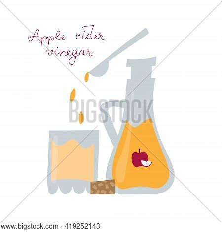 Apple Cider Vinegar Bottle In Flat Style. Glass With Water And Vinegar Drops Falling From Spoon.