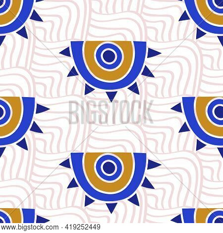 Aztec Evil Eyes Seamless Pattern In Blue, White, Colors