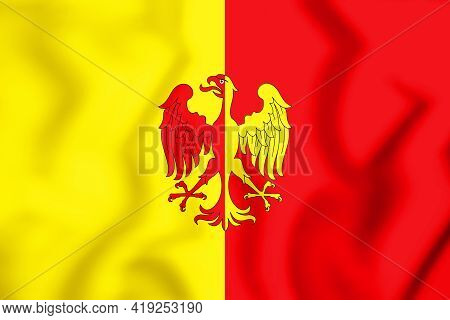 3d Flag Of Tubize (walloon Brabant Province), Belgium. 3d Illustration.