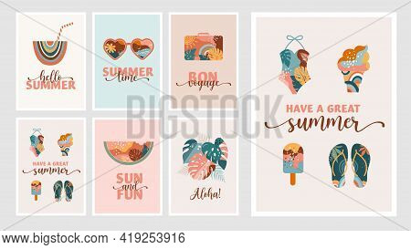 Bohemian Summer, Modern Summer Illustrations And Cards Design With Rainbow, Flamingo, Pineapple, Ice