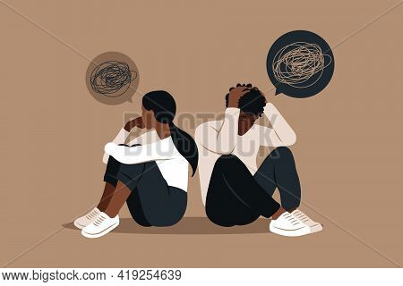 African Man And A Woman In A Quarrel. Conflicts Between Husband And Wife. Two Characters Sitting Bac