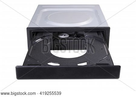 An Empty Cd Reader Tray Is Open. Computer Accessories For Recording And Reading Computer Data.