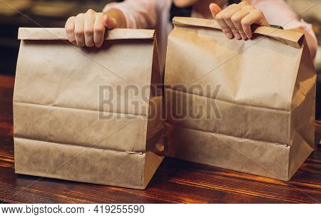 Dessert Paper Bag Waiting For Customer On Counter In Modern Cafe Coffee Shop, Food Delivery, Cafe Re
