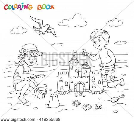 Coloring Book Or Page. A Girl And A Boy Are Playing On The Beach Near The Sea. The Boy Is Building A