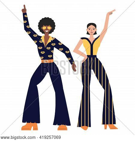 Posing Disco Dancers Isolated On White Background. Hetero Couple In Party 1970s Style Clothing. Man