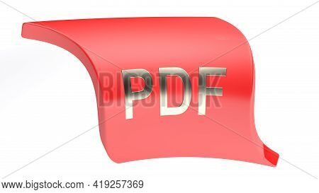 Pdf Red Icon Isolated On White Background - 3d Rendering Illustration
