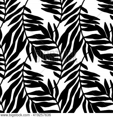 Vector Seamless Pattern Of Tropical Curved Leaves Overlaying Each Other On A Black Outline On A Whit