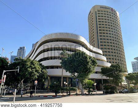 Tel Aviv, Israel - December 24, 2020: Asia House In The Center Of Tel Aviv. The Shape Of The Buildin
