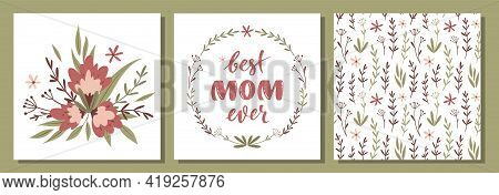 Set Of Vector Floral Postcards For Mother's Day. Bouquet Of Flowers. Floral Wreath And Handwritten L