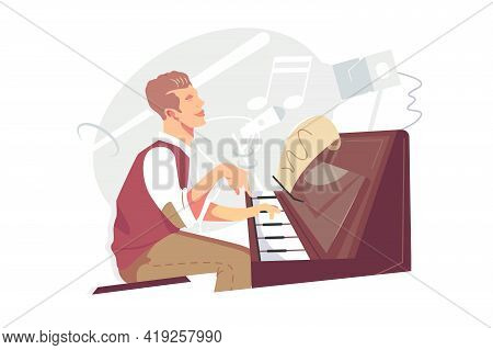 Jazz Pianist At Piano Instrument Vector Illustration. Talented Guy Musician Playing Melody With Note