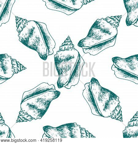 Vector Seamless Pattern Of Greenish-colored Seashell Outline On A White Background. A Hand Drawn She