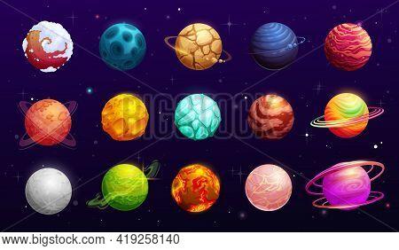 Fantasy Space Planets Of Cartoon Alien Galaxy, Vector Ui Or Gui For Space Games. Fantastic Universe