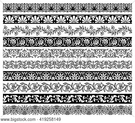 Floral Embellishments And Borders With Vector Flower Ornaments. Ornate Floral Decorations With Flowe