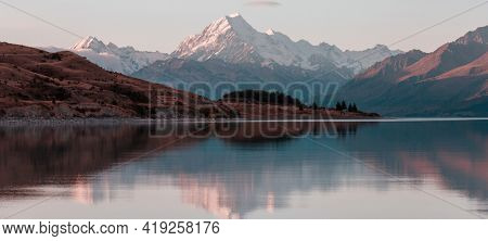 View of the majestic Aoraki Mount Cook,  New Zealand. Beautiful natural landscapes.