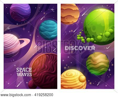 Space Planet Vector Banners Of Universe Galaxy And Space Exploration. Alien Planets, Stars And Aster